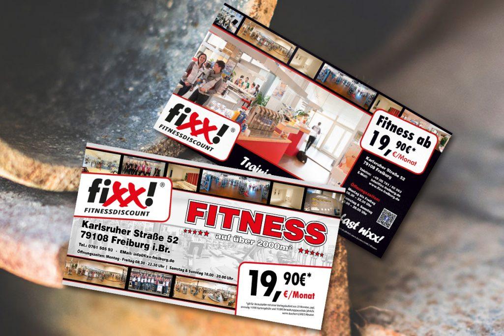 WerbeagenturDN-Medien- Flyer, Gestaltung & Druck, Fixx Fitnessdiscount, Freiburg