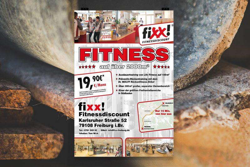 WerbeagenturDN-Medien- Firmenschilder, Gestaltung & Druck, Fixx Fitnessdiscount, Freiburg